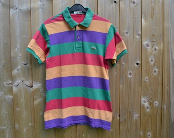 Authentic Vintage french LACOSTE girl striped Polo Shirt rainbow multicolor