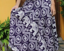Long Skirt Bohemian style elephant dark purple