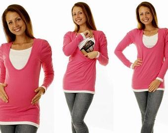 3 in 1 Bellys breastfeeding Shirt Pink long sleeve maternity wear