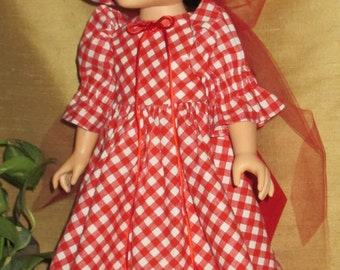 """18"""" long red gingham doll dress and matching hat, red doll dress with hat and red tulle hair ribbon,bright red gingham doll clothes"""