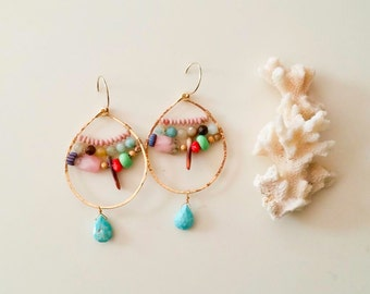 14k gold fill hoop and turquoise Earrings