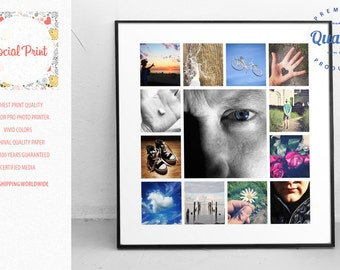 Photo Collage 1, printed with your photos, Instagram prints, square photos, square collage, best gift, photo print, FREE SHIPPING, printable