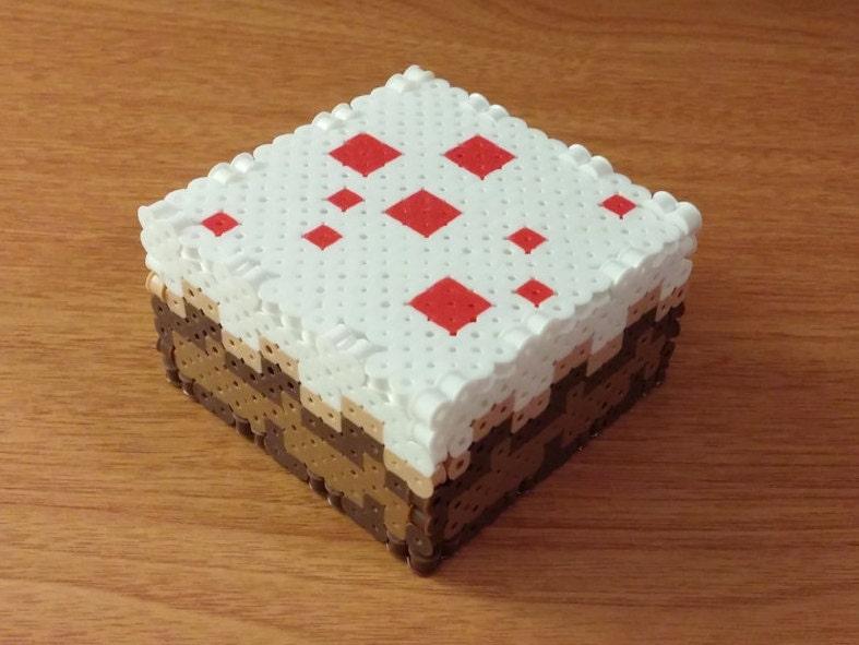 Minecraft Cake 3D Perler Box