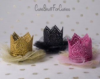 Mini tutu lace crown clip, princess dress up, birthday, cake topper, or photography prop