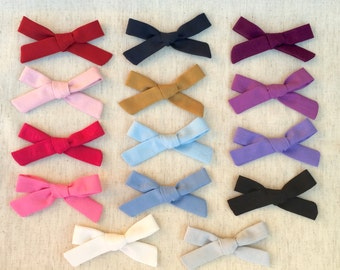 B R O O K L Y N - B O W - Multiple Colors - Headband or Clip -  Schoolgirl Bow - Hand tied fabric bow - Fabric Bow - 100% Cotton