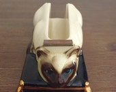 Ceramic Siamese Cat Tape Dispenser; Vintage Tape Dispenser; Cat Tape Dispenser; Vintage Office Decor; Vintage Ceramic Cat