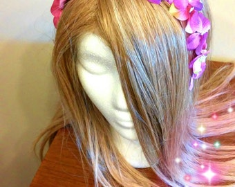 Flower Headband, Pink And Purple, Floral Hair Wreath, Woodland Elf, Flower Headdress, Fairy Costume, Dress Up, Child Headpiece, Adult Halo