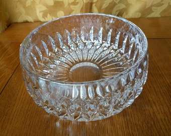 "Gorham 'Althea' Lead Crystal Round Bowl, 7-1/2"" Diameter x 3-1/2"" Tall, Vintage, 1980s, Fruit bowl, Serving bowl"
