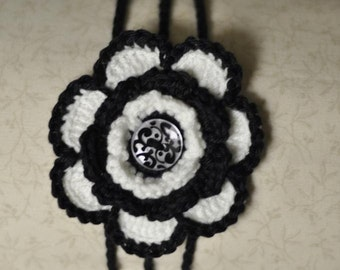 Crochet Flower Headband - Black and White - One size fits all