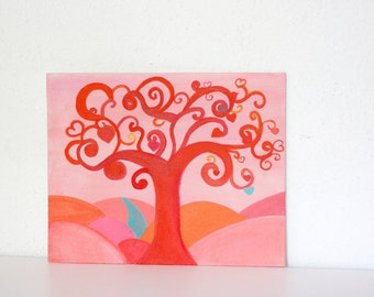 Red tree of life painting  acrylic fantasy painting