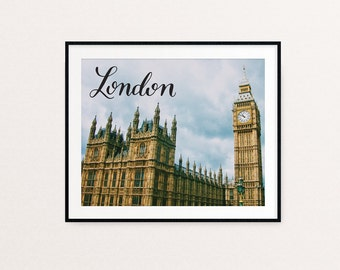 London Print, London Skyline, London Art, London, Big Ben, England Art, Calligraphy Print, Hand Lettered Print, Gold Decor, Gold Print, Gold