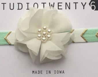 Mint and Gold Chevron Tribal Print Flower Headband - Baby Girl