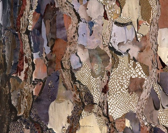 50x75cm Giclee Print of Bark a Mixed Media Painting on Canvas