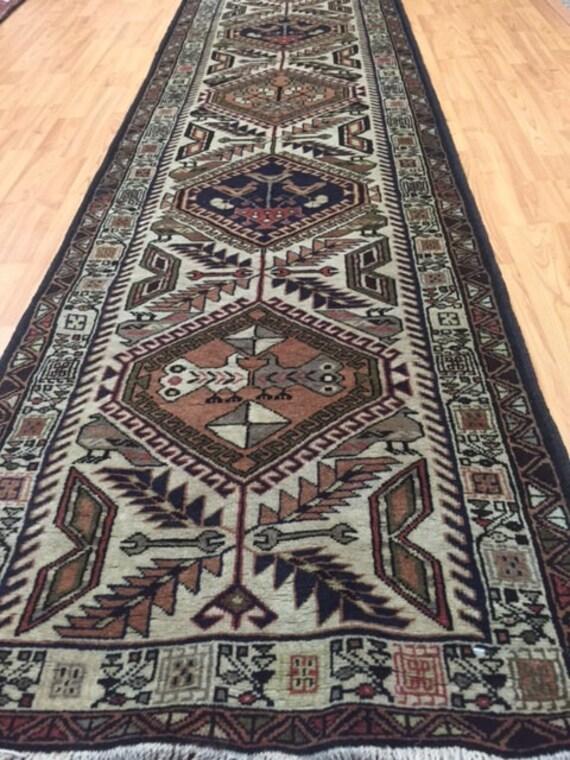 "2'5"" x 9'5"" Persian Ardabil Floor Runner Oriental Rug - 1980s - Hand Made - 100% Wool"