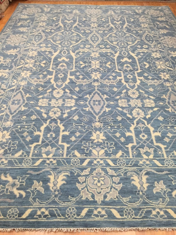 "9'1"" x 12'1"" Soft Melody Indian Oriental Rug - Modern - Hand Made 100% Wool"