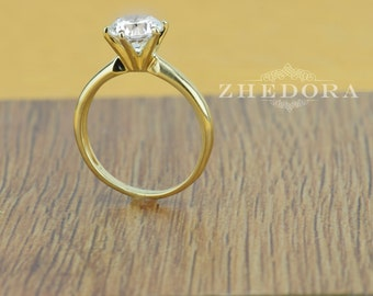 1.10 CT Round Solitaire Engagement Wedding Ring in Solid 14k or 18k Yellow Gold, Solitaire Engagement Ring