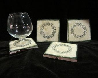 Handmade Shamrock Tile Coaster set