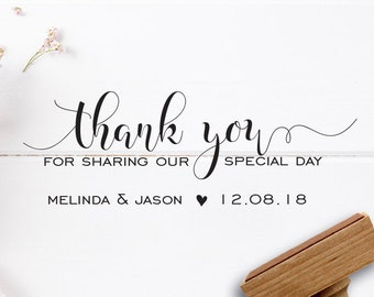 Wedding Stamp, Thank You For Sharing Our Special Day Wedding Stamp, Custom Wedding Stamp, Personalized Rubber or Self Inking Stamp
