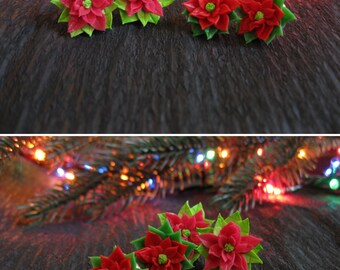 Christmas gift ideas Holiday stud earrings Christmas earrings Holiday gift for her Xmas jewelry Xmas gifts New year gift Poinsettia jewelry