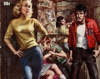 pulp art print D for Delinquent  —  vintage pulp paperback cover repro