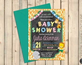Jungle Baby Shower Invitation, Safari Baby Shower Invite, Jungle Safari Birthday Invite, Gender Neutral Invite, Jungle Safari Decor, Digital