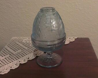 Vintage Tiara Indiana Glass Fairy Lamp - Light Blue Sandwich Pattern (1970s)