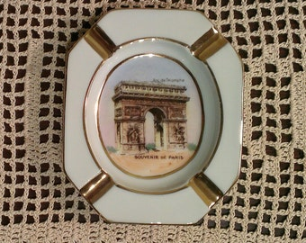 Vintage Paris 'Arc de Triomphe' Souvenir Ashtray - France, Limoges