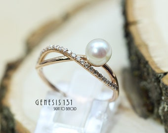 7mm White round pearl center melee diamond infinity rose gold ring unique style ring Valentine gift infinity design promise ring engagement