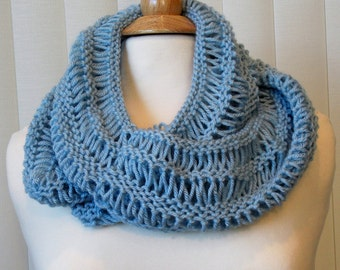 Hand Knitted Inifinity Scarf, Blue Infinity Scarf, Knitted Infinity Cowl