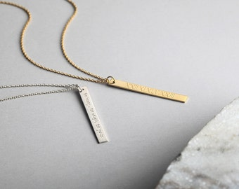 Free Fedex! Sterling Silver Necklace, Gold Layer Necklace, Engraved Vertical Bar Necklace, Long Necklace, Gift for her, Personalize, 4X35mm