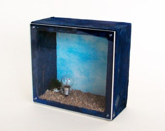 Diorama, found objects, wood box, wall sculpture, abstract sculpture, recycled art,