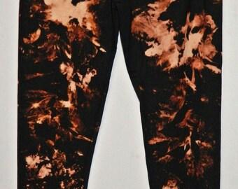 Tie Dye Leggings acid wash Yoga Pants yoga Leggings hand Print Leggings black nebula customized personalised leggings Made in UK