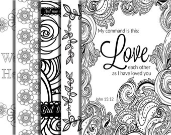 5 Pack Bible Verse Coloring Page Adult Relaxation DIY Party Inspirational Quote Floral