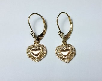 Vintage 14K Gold Heart Shaped Earrings *ON SALE for a limited time*