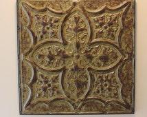 Antique Tin Ceiling Tile   Authentic Vintage Tin Ceiling Tile   Salvaged Tin Ceiling Tile