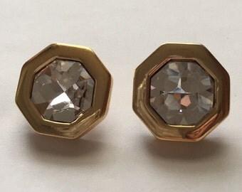 Vintage Gold Tone Swarovski Crystal Pierced Earrings Signed SAL