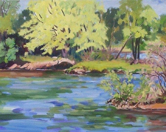 Mantle Painting, Oil Painting of River, Mississippi River View, Beaver Islands