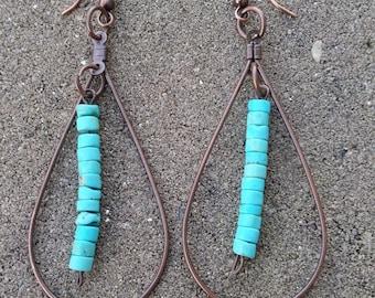 Copper & Turquoise Drop Earrings