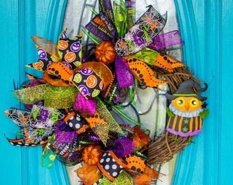 Halloween Wreath, Halloween Grapevine Wreath, Funky Bow Wreath, Halloween Ribbon Wreath, Halloween Owl Wreath, Halloween Decor, Owl Decor