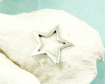 2x star Pendant 18mm Antique silver plated connector #3606