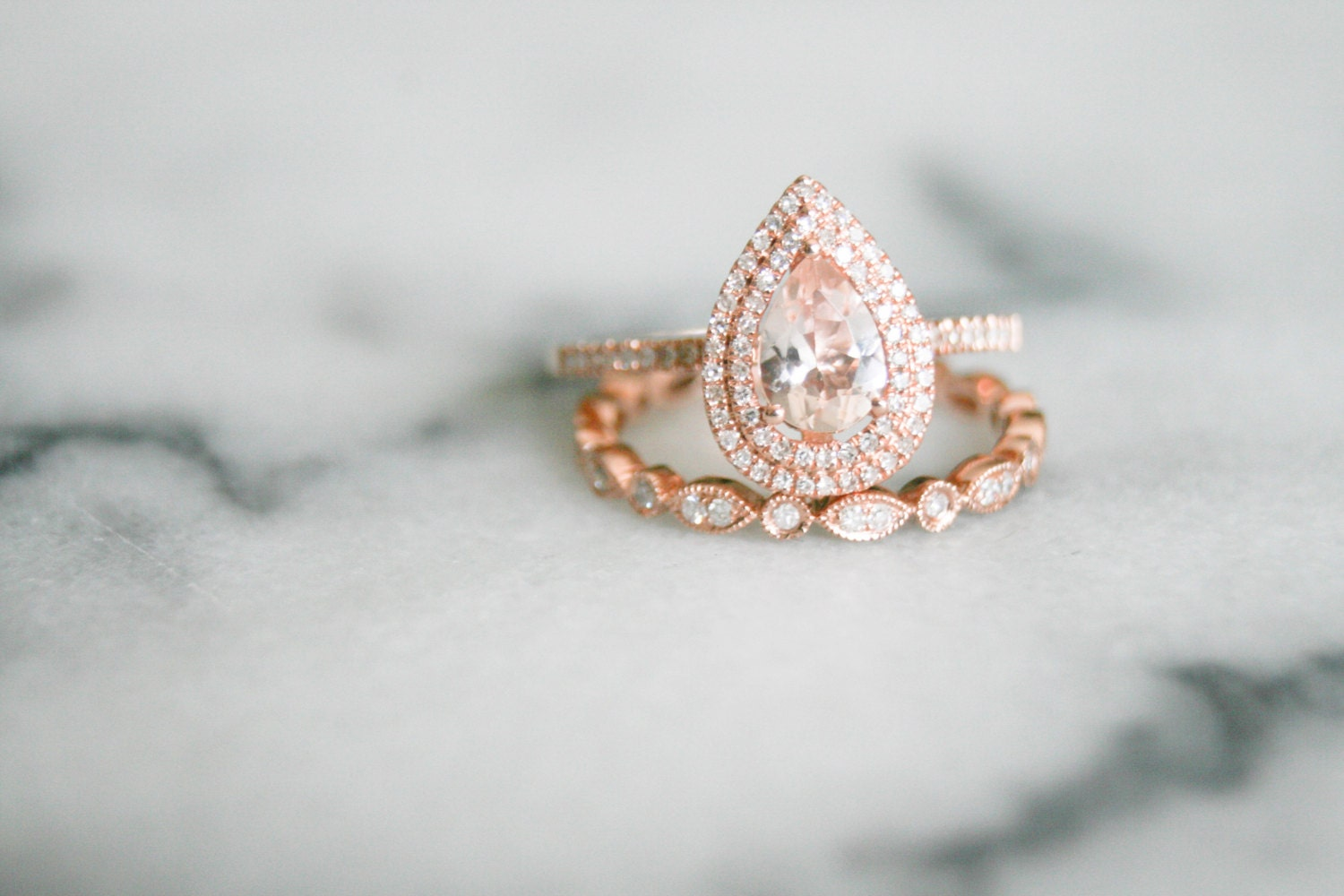 Pear Shape Double Halo Rose Gold Morganite By