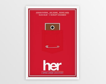 Printable Her Film Poster // Joaquin Phoenix // Digital File Download // A2