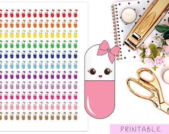 Medicine Stickers, Printable Stickers, Erin Condren Stickers, Kawaii Stickers, Cute Planner Stickers, Pills Stickers, Medication Stickers