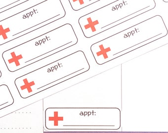 Doctor Appointment Stickers, Doc Appointment Stickers, Health Planner Stickers UK, Reminder Stickers, fit Erin Condren, Vet Planner Stickers