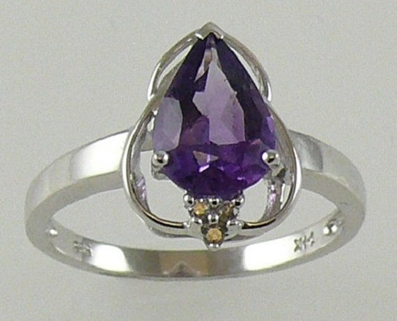 Amethyst Ring 1.55ct 14k White Gold with Diamonds