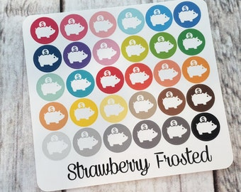 Piggy Bank/Money----Multicolor Icon Labels---Planner Stickers