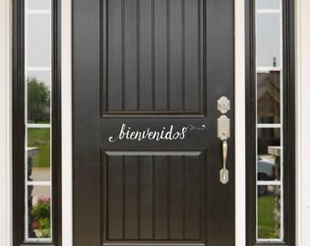 Bienvenidos Door Decal (Puerta Calcomanía), Elegant Door Decal, Swirly Door Decal