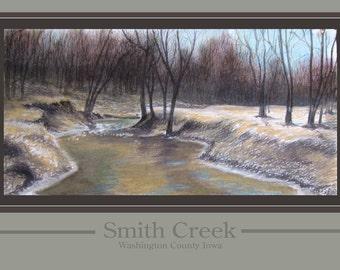 Smith Creek, Fine Art Print, Pastel, Poster, Rural, Landscape, Winter, Midwest