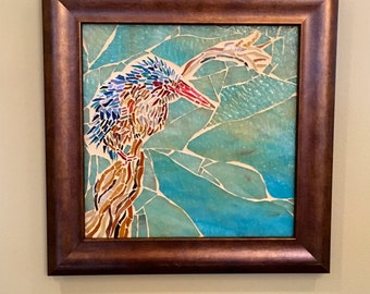 The Kingfisher: Stained Glass Mosaic Wall Art