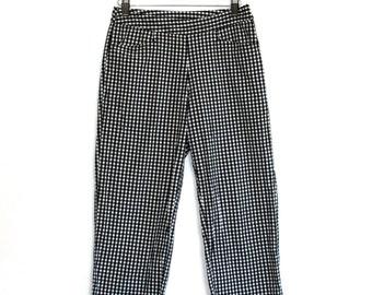 Gingham Capri Pants 90s Vintage Strechy High Waist Loose Leg Fit